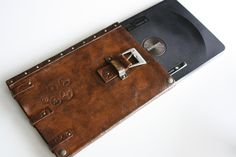 steampunk leather bag for tablets, via Etsy.