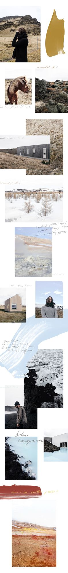 Beautiful moodboard layout - handwritten typography - neutral colors - nature - Iceland