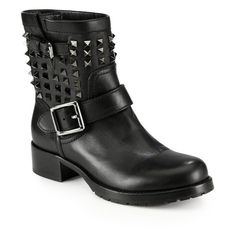 Valentino Noir Rockstud Leather Biker Boots ($1,575) ❤ liked on Polyvore featuring shoes, boots, ankle-boots, black, black leather bootie, biker boots, motorcycle boots, black moto boots and short leather boots