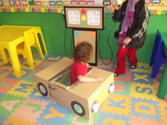 Fuel pump and car for dramatic play area kindergarten - tran Kids Role Play, Role Play Areas, Dramatic Play Area, Dramatic Play Centers, Preschool Centers, Preschool Crafts, Transportation Theme Preschool, Cardboard Toys, Play Centre