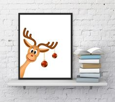 Christmas printable Reindeer print by InstantDownloadArt1 on Etsy