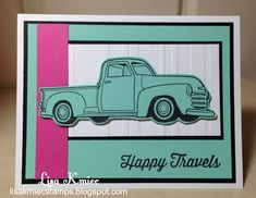 Stamping and Scrapping with Lisa: Happy Travels in Retro Colors #FSJ #FunStampersJourney #HitTheRoad
