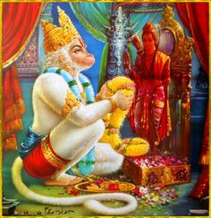 "☀ SHRI HANUMAN☀Artist: P.SardarShri Krishna said:""Those with the vision of eternity can see that the imperishable soul is transcendental, eternal, and beyond the modes of nature. Despite contact with the material body, O Arjuna, the soul neither does anything nor is entangled.""~Bhagavad Gita as it is 13.32To order a copy of ""Bhagavad Gita as it is"":http://store.krishna.com/Detail.bok?no=2325&bar=_shp_bbt"