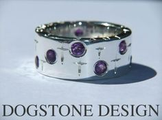 Ladies Chunky Silver Amethyst Dogstone Ring   Contact - 0161 491 0624