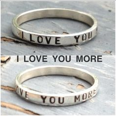 "Stacking Ring, ""I Love You More"" Ring, Name Ring, Personalized Ring on Etsy, $18.00"