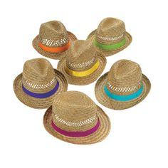 Fedoras With Band - OrientalTrading.com i saw this pic with bridesmaids wearing all different bright clored shoes like these hats- would make a cute pic- or bach party theme