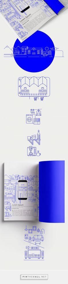 Smart Home. Ilustración Editorial on Behance. - a grouped images picture Icon Design, Web Design, Line Design, Layout Design, Smart Home Design, Education Logo, Line Illustration, Grafik Design, Corporate Design
