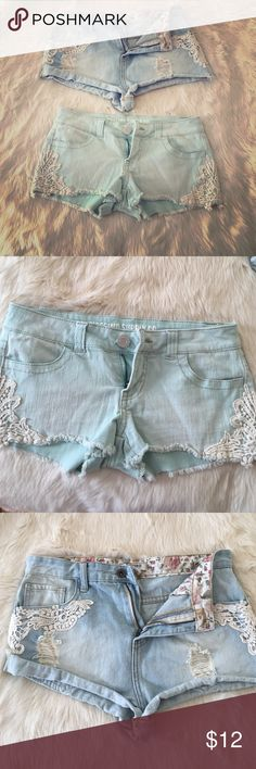 Lot of two pairs lace accented jean shorts Green shorts on bottom are Mossino Supply Co size 3.  Blue shorts on top are Forever 21 size 28.  Sold as a lot, both pair for $12 Forever 21 Shorts Jean Shorts