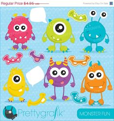 BUY 20 GET 10 OFF monster fun clipart commercial use vector graphics digital clip art digital images - by Prettygrafikdesign Monster Party, Monster Birthday Parties, Classe Dojo, Monster Clipart, Funny Monsters, Image Paper, Clip Art, Craft Projects For Kids, Little Monsters