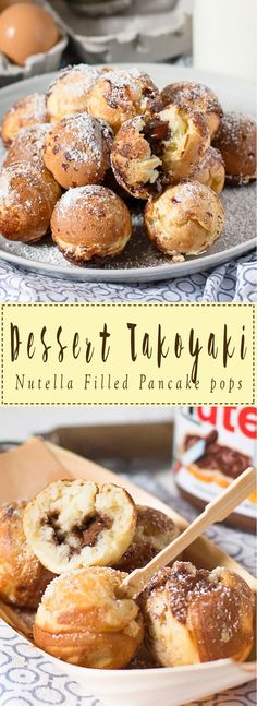 Nutella Dessert Takoyaki These mini, bite-sized pancake pops filled with warm, gooey Nutella are delicious and cute! They're a sweet twist on the classic Japanese dish, Takoyaki. Japanese Dishes, Japanese Sweets, Japanese Pancake, Japanese Food Recipes, Asian Desserts, Gourmet Desserts, Health Desserts, Plated Desserts, Easy Desserts