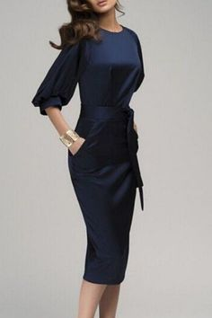 Navy Blue Belt Elbow Sleeve Fashion Midi Dress #Navy #Work #Dress