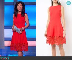 Julie's red scalloped hem dress on Big Brother Cutout Dress, Lace Dress, Big Brother Style, Julie Chen, Scalloped Dress, Bow Blouse, Asymmetrical Tops, Summer Fashions, Summer Dresses
