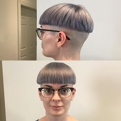 You don't see too many girls with glasses in bowlcuts, which is too bad since it's a sexy combination:)