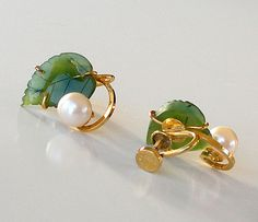 Vintage GF Pearl Earrings Carved Jade Earrings 1960s Jewelry