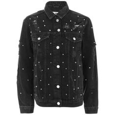 Topshop Moto Studded Oversized Jacket featuring polyvore, women's fashion, clothing, outerwear, jackets, topshop, cotton jacket, studded denim jacket, oversized jacket, denim jackets and cotton jean jacket