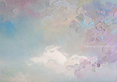 """Hint of Spring"" 16""x40"" MELISSA MCKINNON Contemporary Abstract Landscape Artist features BIG COLOURFUL PAINTINGS of Aspen & Birch Trees, Rocky Mountains and stunning views of the Canadian prairies, big skies and ocean beaches. Western Art. Abstract landscape painting of clouds, sky, rural prairie fields and Canadian Rocky Mountains."