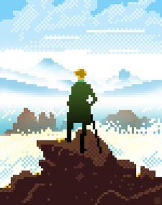 Wanderer above the Sea of Fog (Pixel) Original painting by Caspar David Friedrich Pixel Version by Christopher Ryzebol deviantART Pixel Art, Graphic Design Inspiration, Graphic Design Art, Character Illustration, Illustration Art, 8 Bit Art, Video Game Art, Online Art, Disney