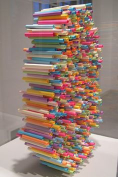 "Sticky note sculpture - I thought these were straws at first - maybe students make sections from used notes then combine into sculpture near our recycle box along with an aluminum rehab and plastic bottle art too with quote above ""one man's trash is another man's treasure"" or quotes from three different environmentalists"