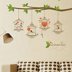 Quote Wall Stickers Vinyl Art Home Room DIY Decal Decor Bedroom Removable Mural Cheap Wall Stickers, Wall Decals, Pvc Wall, Vintage Heart, Tree Wall, Vinyl Art, Bird Cage, Contemporary Decor, Wallpaper