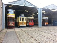 Trams in the tram depot at the National Tramway Museum in Crich Tramway Village in Derbyshire. #Crich
