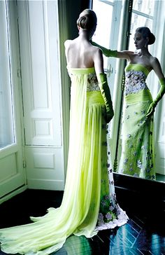 Valentino LIME GREEN WITH BLING GOWN