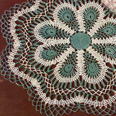 Lagoon Flower Crochet Doily Pattern, Scallop Edge