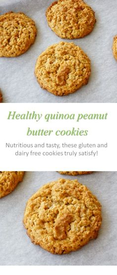 A gluten-free and dairy-free without refined sugar quinoa peanut butter cookie…