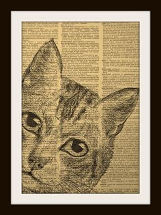 have students sketch w/charcoal pencils on old book pages Cat Painting, Art Prints, Word Art, Weisman Art Museum, Cat Art, Newspaper Art, Insect Art, Art, Book Art