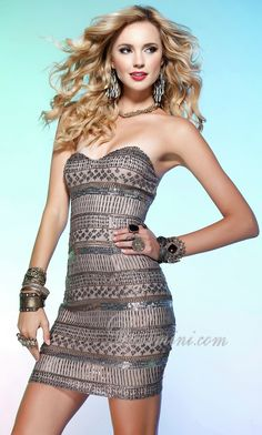 column dresses | ... Dresses > Silver Sheath/Column Strapless Tight Short/Mini Prom Dress