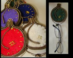 Felt & Zipper Ornament Brooches. These also do double duty as eyeglass or sun-glass holders!