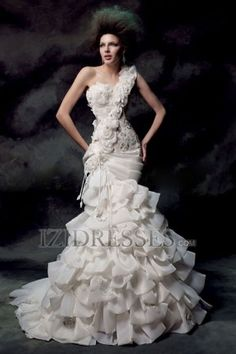 Trumpet/Mermaid One Shoulder Organza Wedding Dress - IZIDRESSES.COM Do you think your hair can do this?