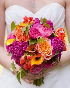 Amazing bright coloured bouquet with fuschia peonies, pink garden roses, orange spray roses, gloriosa, mango callas and free spirit roses. Bright Wedding Flowers, Wedding Flower Guide, Winter Wedding Flowers, Bridal Flowers, Floral Wedding, Wedding Colors, Orange Wedding, Wedding Ideas, Decor Wedding