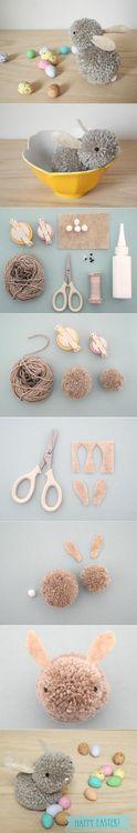 Conejo Pom Pom lana Pascua Easter DIY Pom Pom Bunny DIY Projects / UsefulDIY.com on imgfave