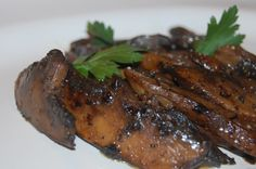 Sautéed mushrooms in balsamic butter sauce. This is AMAZING! I sauteed peppers in the mix and then used tortillas to eat them fajita style.