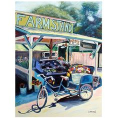 Trademark Art Farmstand Bike Canvas Art by Colleen Proppe, Size: 24 x 32, Multicolor
