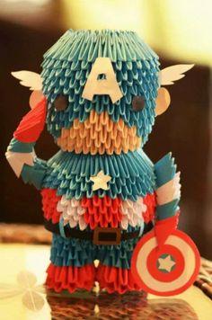 Captain America in origami america Useful Origami, Diy Origami, Origami Paper, Paper Quilling, Diy Paper, Paper Art, Paper Crafts, Origami Ideas, Origami Marvel