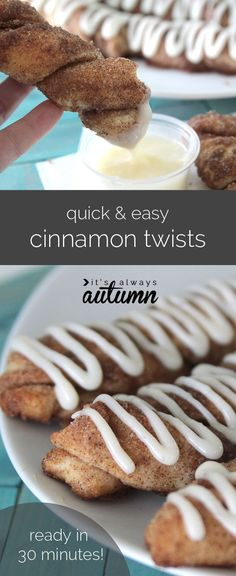 super easy cinnamon twists with cream cheese frosting