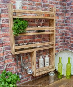 Spice shelf made of wood, Spice rack made of old wood with lots of space! Dimensions: height 90 cm, width 59 cm, depth 10 cm These details are ap Pallet Spice Rack, Wood Spice Rack, Spice Shelf, Spice Racks, Diy Storage Rack, Spice Storage, Storage Ideas, Wooden Pallet Projects, Kitchen Organization