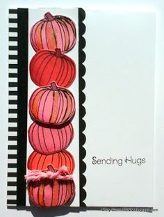 Pink pumpkin card for October's Breast Cancer Awareness month by Mary Gunn FUNN