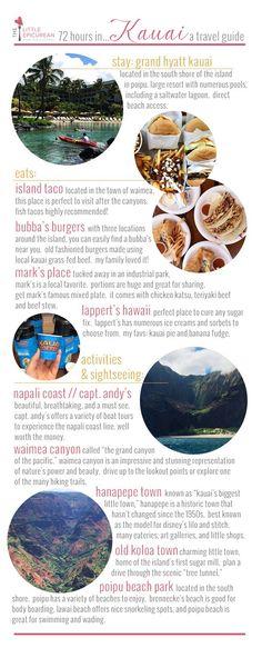 Hawaii Travel Guide focusing on the island of Kauai. What to eat, see, and do in Kauai over a quick weekend trip or 72 hours Kauai Vacation, Hawaii Honeymoon, Aloha Hawaii, Hawaii Life, Vacation Destinations, Italy Vacation, Cheap Honeymoon, Hawaii 2017, Voyage Hawaii