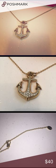 "JC Gold Pave Stone Anchor Necklace Like brand new.  Gently used. Stored in jewelry box. Measures approximately 16"" in length from catch to bottom of anchor pendant.  Made a mixed metals.  Pave stone detail in anchor. Juicy Couture Jewelry Necklaces"