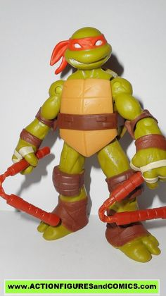 Playmates toys action figures for sale to buy: TEENAGE MUTANT NINJA TURTLES TMNT (Nickelodeon series) 2012 series 1 MICHELANGELO / Mikey / Mike includes: both nunchucks condition: Overall excellent -