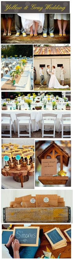 yellow and gray wedding- I especially love the table place cards