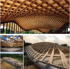 Finished Interior View and Construction of the Timber Gridshell Roofing of the Savill Building designed by Glenn Howells Architects.