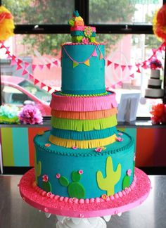 Of The Most Lovely Fiesta Cakes Love these amazing fiesta cake- See More fiesta ideas on B. Lovely EventsLove these amazing fiesta cake- See More fiesta ideas on B. Mexican Birthday Parties, Mexican Fiesta Party, Fiesta Theme Party, Taco Party, Rosalie, Pretty Cakes, Themed Cakes, Cupcake Cakes, Cupcakes