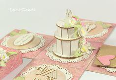 Geldgeschenk Box zur Hochzeit, Exploding box, rosa von Lapka-Scrapka auf DaWanda.com