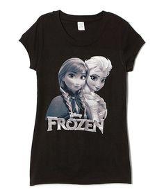 Look what I found on #zulily! Black Anna & Elsa Tee - Juniors #zulilyfinds