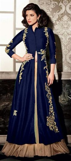 465031 Blue color family Bollywood Salwar Kameez in Bhagalpuri,Silk fabric with Machine Embroidery,Zari work . Georgette Fabric, Silk Fabric, Salwar Kameez, Kurti, Hijab Dress, Nice Dresses, Amazing Dresses, Everyday Dresses, Casual Party