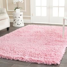 Safavieh Hand-woven Bliss Pink Shag Rug (5' x 8') - Overstock™ Shopping - Great Deals on Safavieh 5x8 - 6x9 Rugs