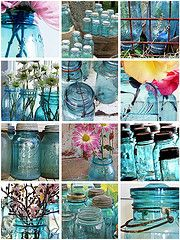 I wonder if Grandma ever knew how popular Mason Jars would become. I love the blue!